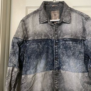 Men's Guess Blue & Grey Button Down Shirt